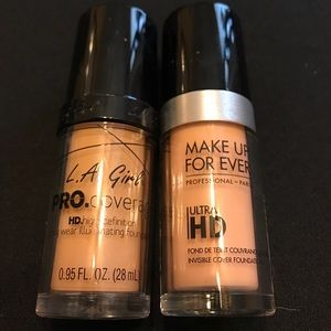 Make up forever HD and LA girl Pro foundations