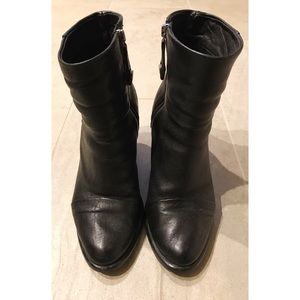 Shoes - Black Italian Leather Tall Ankle Boot with Cap Toe