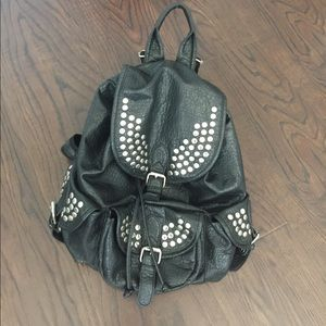 Brandy Melville Silver Studded Leather Backpack