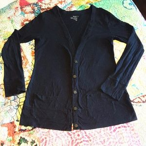 ON Black Cotton Cardigan with Pockets