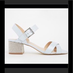 ASOS Cross strap embellished block heel sandal sz6