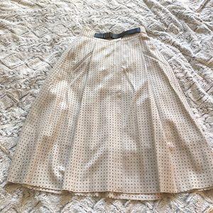 Grey belted midi skirt