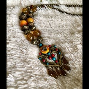 Boho Tibetan  Beaded Tassel Pendant Necklace