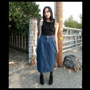 Vintage 80's high waist jean pencil skirt!