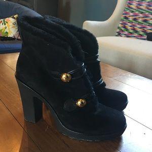 NWOT Coach high heel black fur booties sz 8.5
