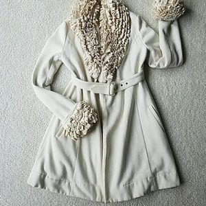 Jackets & Blazers - Cream ruffled coat