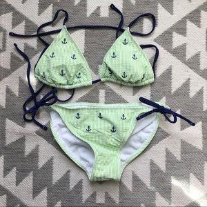 Xhilaration Green Seersucker Anchor Bikini S/M