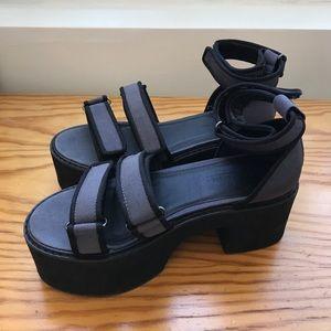 Platform Black Sandals with Velcro Straps