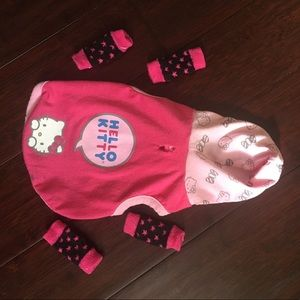 Hello Kitty small dog hoodie & harness pack