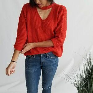 Sweaters - Red Orange Choker Sweater