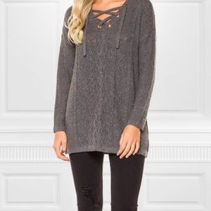 Sweaters - 🎁HOST PICK🎁Gray Speckled Lace Up Sweater🎁