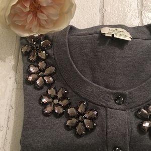 Kate Spade Jeweled Embellished Cardigan in Grey