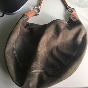 Gap Olive Green suede hobo w/tan leather trim