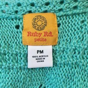 Ruby Rd. Sweaters - Ruby Rd Aqua Knitted Shrug