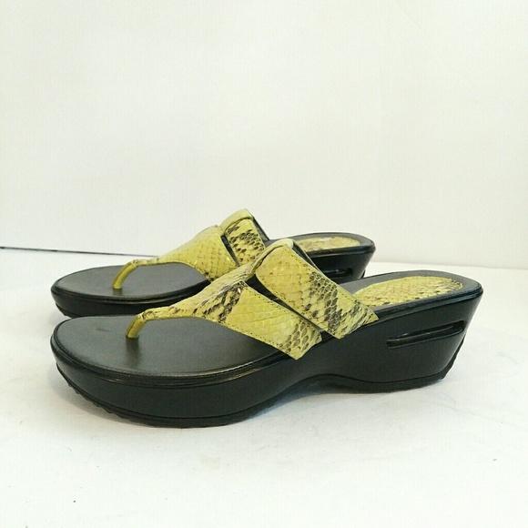 Cole Haan Nikeair Yellow platform Wedge Sandals Size 6.5