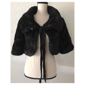 Zara faux fur cardigan sweater shawl size XS