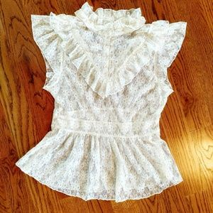 Off white short sleeve lace Free People peplum top