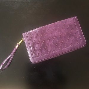 Purple vegan leather clutch