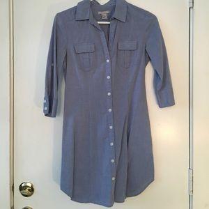 Blue cotton shirt dress