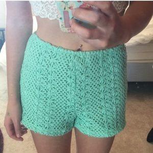LA Hearts Crochet High Wasited Shorts Teal M