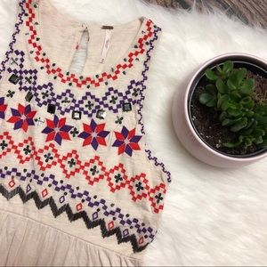 FREE PEOPLE Embroidered Babydoll Tank Tunic Top