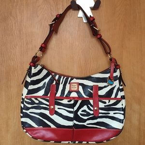Dooney & Bourke Zebra Print Bag with Red Accents
