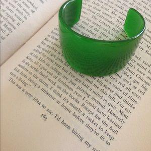 Vintage Green Bakelite Cuff Bracelet