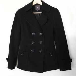 Classic Black Pea Coat Double Breasted Forever 21