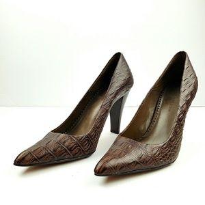 AK Anne Klein Croc Print leather pumps size 8m