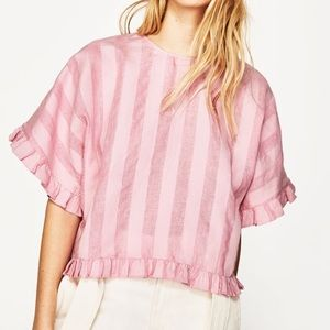 Zara striped ruffle crop top