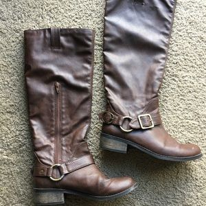Brown Faux Leather Long Combat Boots