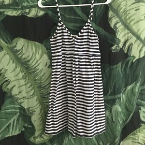 J Crew Navy Blue and White Striped Dress