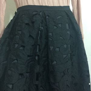 Talbots 100% silk black floral appliqué skirt Sz 6