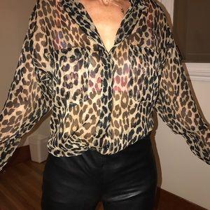 see through cheetah print blouse