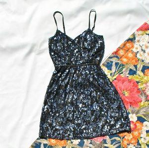Express Sequin Surplice Cami Dress