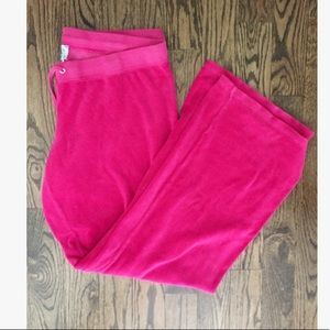 Juicy Couture Hot Pink Velour Drawstring Pants