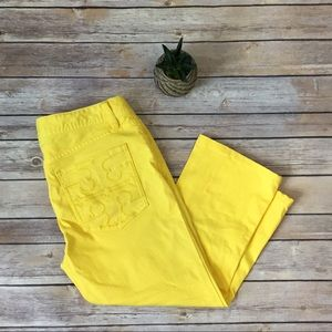 Tory Burch Yellow Cropped Slim Boot Size 28