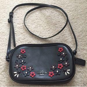Coach double zipper leather crossbody bag