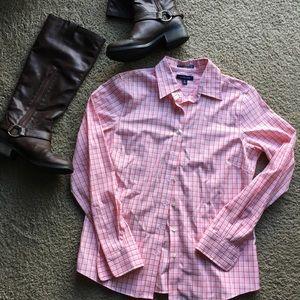 Pink and Orange Collared Long Sleeve Shirt