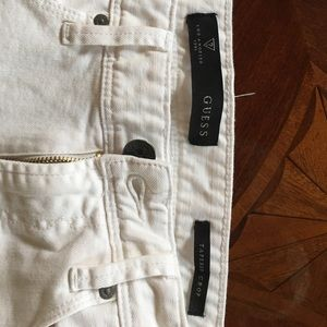 Mens guess white tapered crop white jean