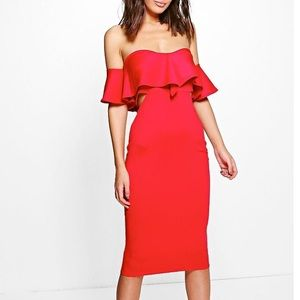 Super sexy red off the shoulder boo boo dress!