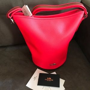 Coach 34527 Pebbled Leather Duffle Neon Pink
