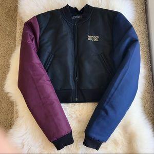 Stussy women Harlequin cropped bomber jacket, M