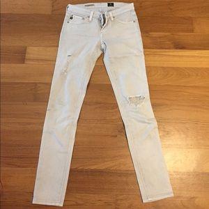 AG Legging Ankle denim jeans color pale grey Sz 24