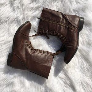 Brown Moto Combat Boots