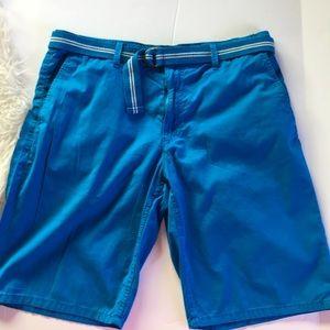 Men's summer blue belted shorts