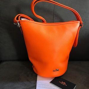 Coach 34527 Pebbled Leather Duffle Neon Orange