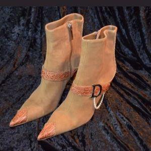 Dior Ankle Boots Logo D Pearl Loop Beige