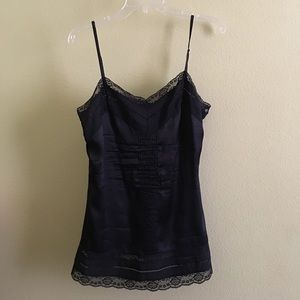 Black lace and silk tank