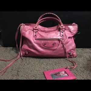 BALENCIAGA the City 2way Satchel Bag Magenta Pink
